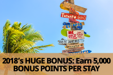 2018's HUGE BONUS: Earn 5,000 BONUS POINTS PER STAY