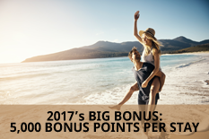 2017's BIG BONUS: 5,000 BONUS POINTS PER STAY